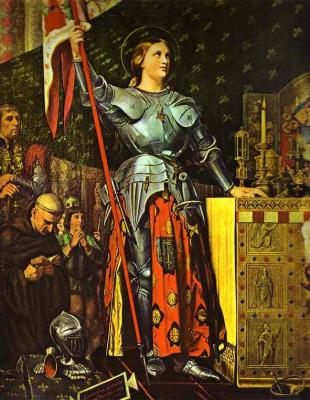 "Jean-Auguste-Dominique Ingres. ""Joan of Arc on Corronation of Charles VII in the Cathedral of Reims"". 1854. Oil on canvas. Louvre, Paris, France."