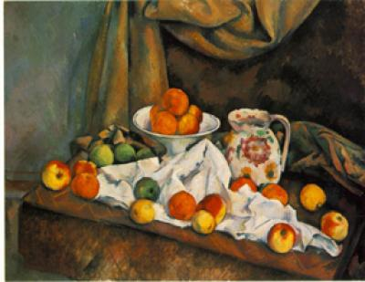 Compotier, Pitcher, Fruit by Paul Cezanne