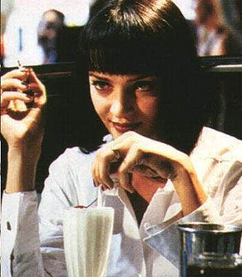 Uma Thurman enjoying a milkshake in Pulp Fiction